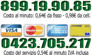 899 di cartomanzia e numero urbano per tarocchi con carta di credito